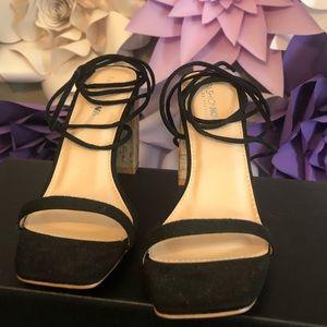 Black and cork heels